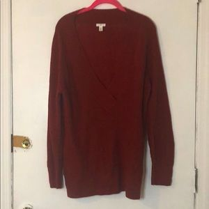 Maroon colored deep v sweater